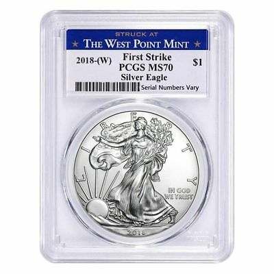 2018-(W) American Silver Eagle 1oz PCGS MS70 First Strike West Point Mint Label