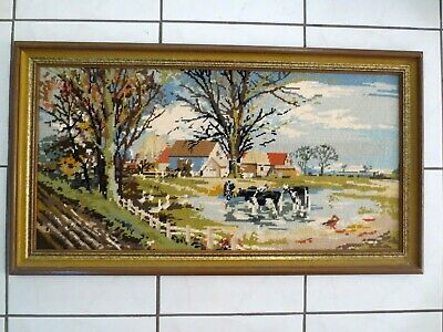 Craft Tapestry Completed Framed Country Farm Cows Geese Etc