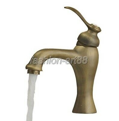 Antique Brass Single Handle Bathroom Vessel Basin Sink Faucet Mixer Tap fnf063