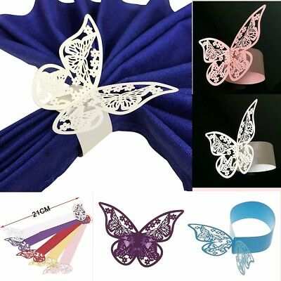 50x Butterfly Napkin Ring Serviette Holder Wedding Party Chair Table Sash Decor