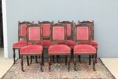 Set of seven Edwardian chairs.