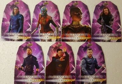 2018  Marvel Avengers Infinity War POWER Stones 7 Cards Set die cut