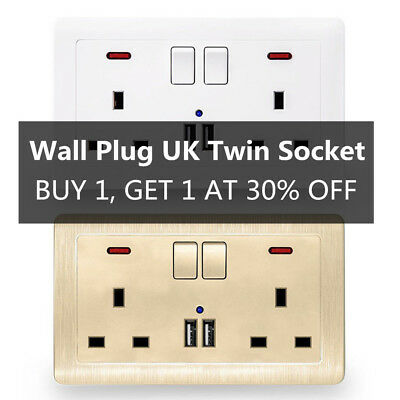 Double Wall Plug Socket 2 Gang 13A with 2 USB Ports Screwless Slim Flat Plate D