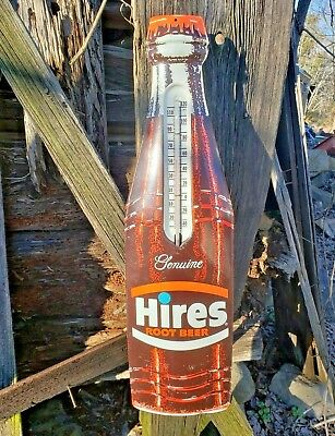 Vintage 1950s Hires Root Beer Diecut Metal Bottle Thermometer Sign WORKS - 28.5""