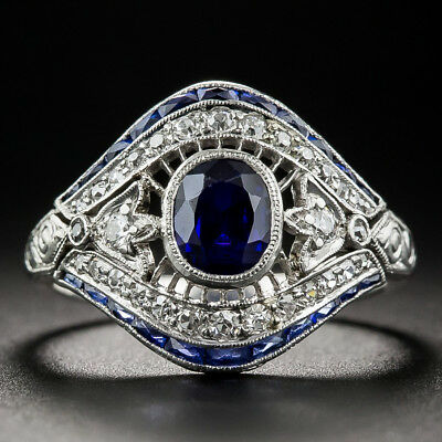 Vintage Art Deco Silver White Topaz Sapphire Evil Eye Finger Ring Jewelry #6-10