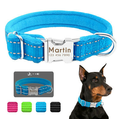 Personalised Dog Collar Reflective Nylon Heavy Duty Engraved ID Tags Small Large