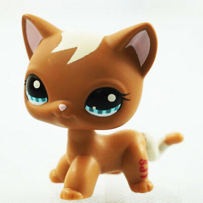 Rare LPS Toys Littlest Pet Shop Brown Short Hair Cat Kitten Animals Collection