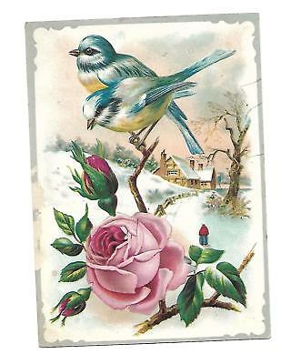 Blue & Yellow Birds Branch Pink Rose Snow House No Advertising Vict Card c1880s