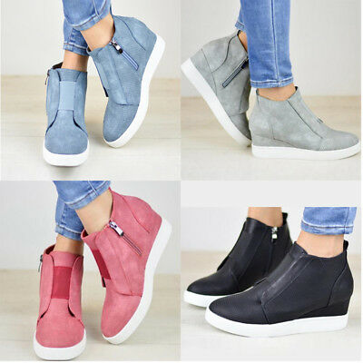 Womens Hidden Wedge Low Mid Heel Ankle Boots Sneakers Zip Trainers Shoes Size AU