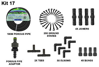 100M - Porous Pipe, Soaker Hose, Leaky Pipe + Free Connectors & Pipe Stakes