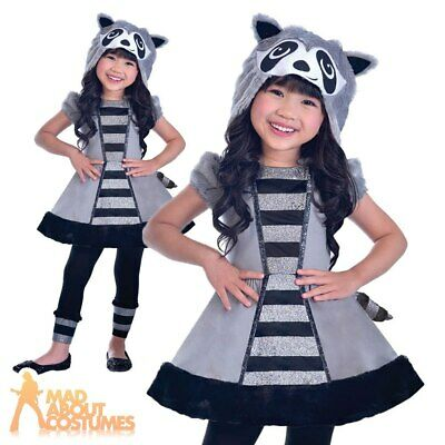 Kids Racoon Costume Animal Girls Book Week Day Childs Fancy Dress Outfit