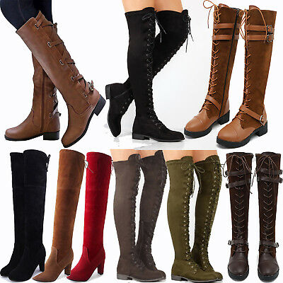 Womens Over The Knee High Riding Boots Lace Up Zip Low Heel Flat Buckle Shoes AU