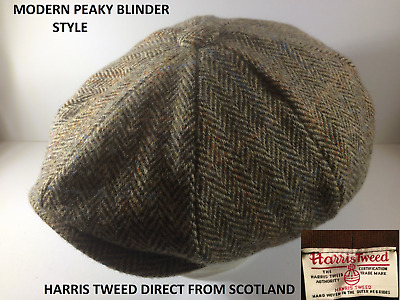 Genuine Scottish Harris Tweed Newsboy Modern Peaky Blinder Cap Green Herringbone