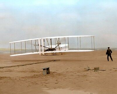 "WRIGHT BROTHERS ORVILLE WILBUR WRIGHT FLYER 1903 8x10"" HAND COLOR TINTED PHOTO"