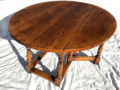 Large Antique Style SOLID Oak Drop Leaf Occasional Table / Coffee Table