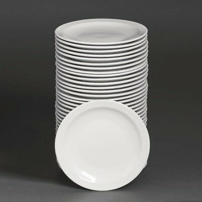 Athena Hotelware Narrow Rimmed Plates 8 - Pack of 36 | Porcelain Dinnerware