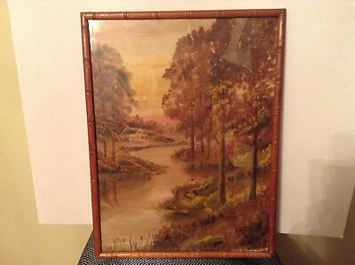 Original Landscape Oil Painting On Board, Signed Falk