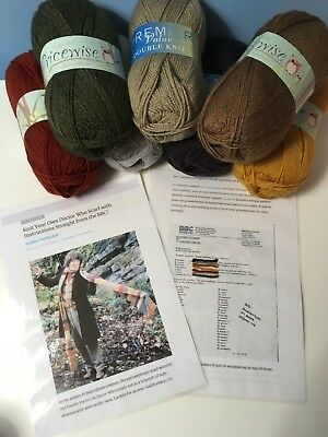 Dr Who Tom Baker scarf easy knitting kit includes original pattern and 800g yarn
