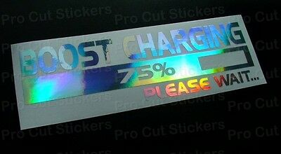 Boost Charging Turbo Silver Hologram Neo Chrome funny Stickers Decals JDM DUB