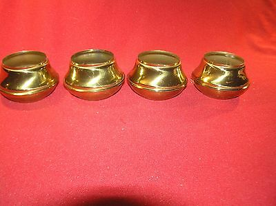 """4 Brass Bed Parts End Caps Fits 2"""" Tubing Polished & Lacquered"""