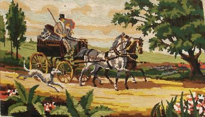 "vintage horses carriage completed cotton needlepoint tapestry 28""x17"""