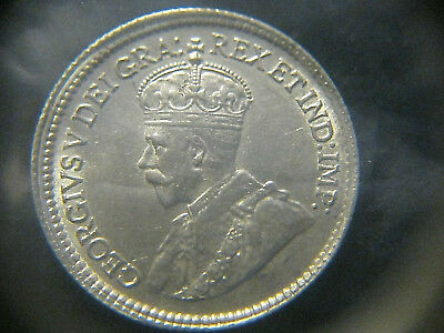 Canada 1919 5 Cents Sterling Silver Coin Uncirculated