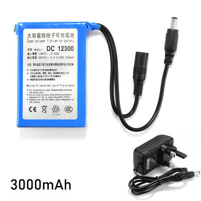 DC 12V 3000mAh Rechargeable Li-ion Battery Pack for CCTV Camera UK Plug LD1839