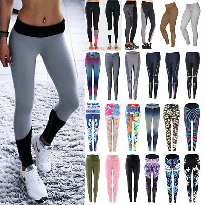 Sexy Women Leggings Running Yoga Fitness Gym Stretch Splice Sports Pant Trousers
