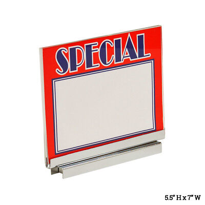 "Retail Rack Acrylic 5"" x 7"" Sign Card Holder w/ Chrome Magnetic Base, Wholesale"