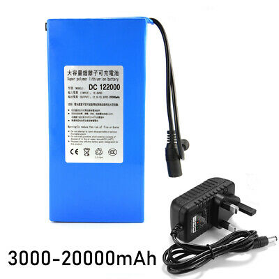DC 12V 3000-20000mAh Rechargeable Li-ion Battery Pack for CCTV Camera UK Plug