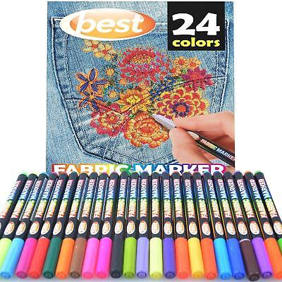 Best Permanent Fabric Markers (24 PENS) Non-Toxic - Set of 24 Individual Colors