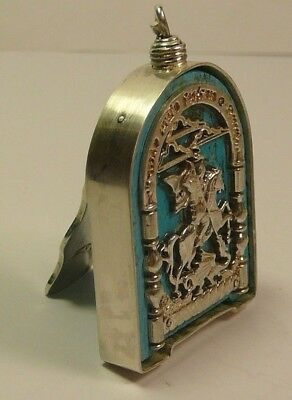 Imperial Russian 84 Silver George the Victorious Icon Turquoise Moscow 1883