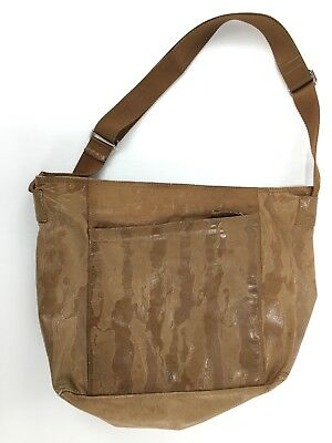 Vintage Prada Camel Leather web strap hobo style shoulder bag embossed  pattern e1a47739907a7