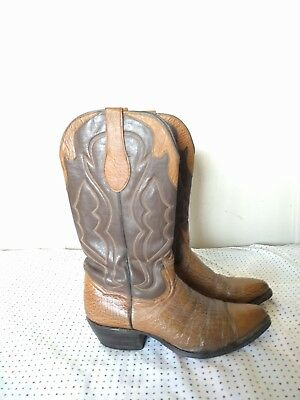 7c6daf58ddd VINTAGE CROWN BOOT Company Men's 9.5 D Brown Exotic Leather Western Cowboy  Boots