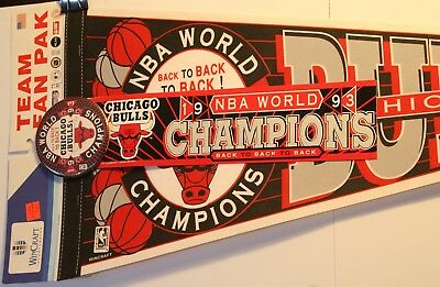 "1993 Chicago Bulls Fan Pak NBA Basketball 30"" Pennant Full Size New Pin Sticker"