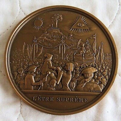 BICENTENNIAL OF THE FRENCH REVOLUTION 76mm BRONZE MEDAL - the supreme being