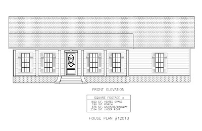 Ranch House Plans 1650 SF 3 Bed 2 Bath Open Flr - Split Bedrooms (Blueprints)