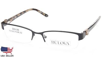 ce90baea3d NEW BULOVA PISA BLACK EYEGLASSES GLASSES HALF RIMLESS FRAME 52-17-135 B28mm