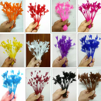 20pcs 10-18cm Stripped Goose Feathers 16 Colour Choice DIY Craft Millinery Hats