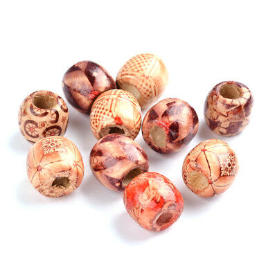Mixed Round Wood Loose Beads Smooth Spacer Beads Charms Crafting Jewelry 16x17mm