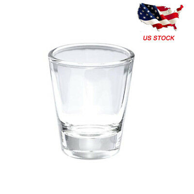 1 Pack Round 1.5 oz Shot Clear Glass Drink Whiskey Wine Cup with Heavy Base