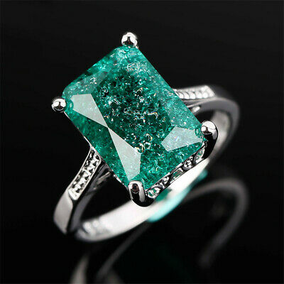 Generous 7.36 CT Green Emerald Silver Ladies Wedding Ring Gifts Size 6-10