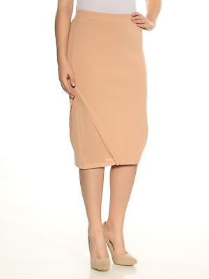96a0fdc05fd2 RACHEL ROY  89 Womens New 1492 Beige Ruffled Knitted Pencil Skirt S ...