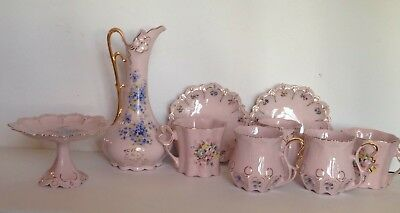 9PCS NEW Vintage H&C Czechoslovakia Hand Painted Rosa Pink Tea Cups Tea set 24K