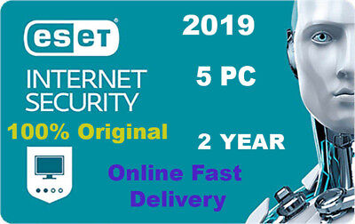 Eset Internet Security 2019 v12  5 pc 2 year Original Product key. Fast Delivery