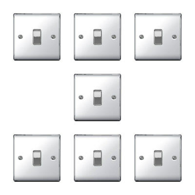 POLISHED CHROME Single Switch 1 Gang 2 Way 10 x BG Nexus Metal NPC12