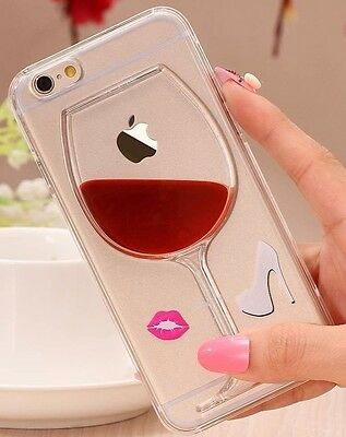 Red Wine Glass Moving Dynamic Liquid Transparent Case Cover For iPhone 5 or 5S