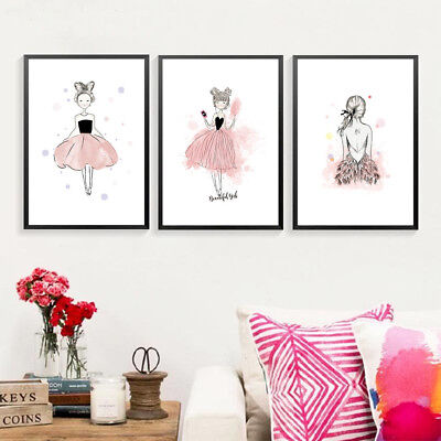 Beautiful Girl Canvas Painting Print Sweet Girls Room Bedroom Wall Poster Decor