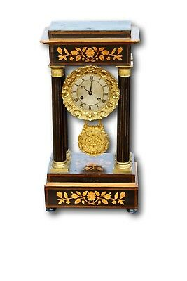 French 19th Century Portico Mantle Clock With Marquetry Inlay, Complete