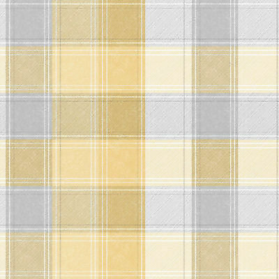 Arthouse Country Checked Ochre Yellow & Grey Quality Tartan Wallpaper 902807